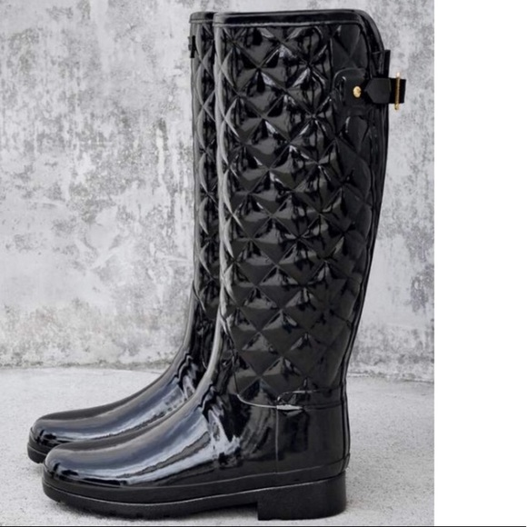 ce5e0e6bc8ef Hunter Shoes - Hunter Refined High Gloss Quilted Boot